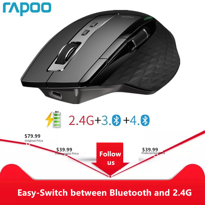Rapoo MT750S Rechargeable Multi-mode Wireless Mouse Easy-Switch between Bluetooth and title=