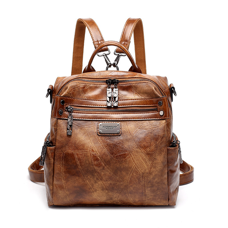 2019 Vintage en cuir véritable Sac à Dos femme femmes sacs d'école pour adolescents filles luxe sacs à Dos rétro Sac à Dos