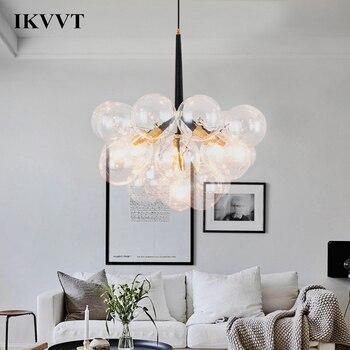 IKVVT moderno E27 colgante luces de vidrio claro de 3/4/6 cabezas ...