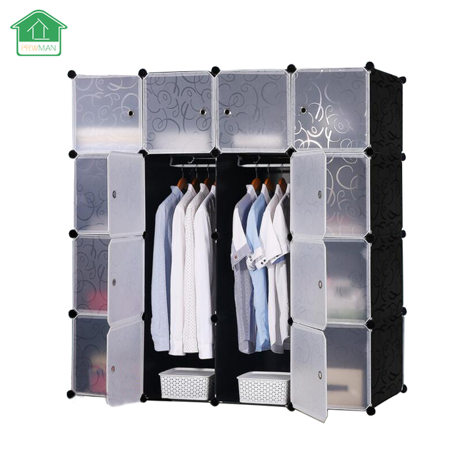 PRWMAN 16 Cube 2 Hooks DIY Magic Piece Of Resin Storage Cabinets Bedroom Wardrobe  Furniture Assembly