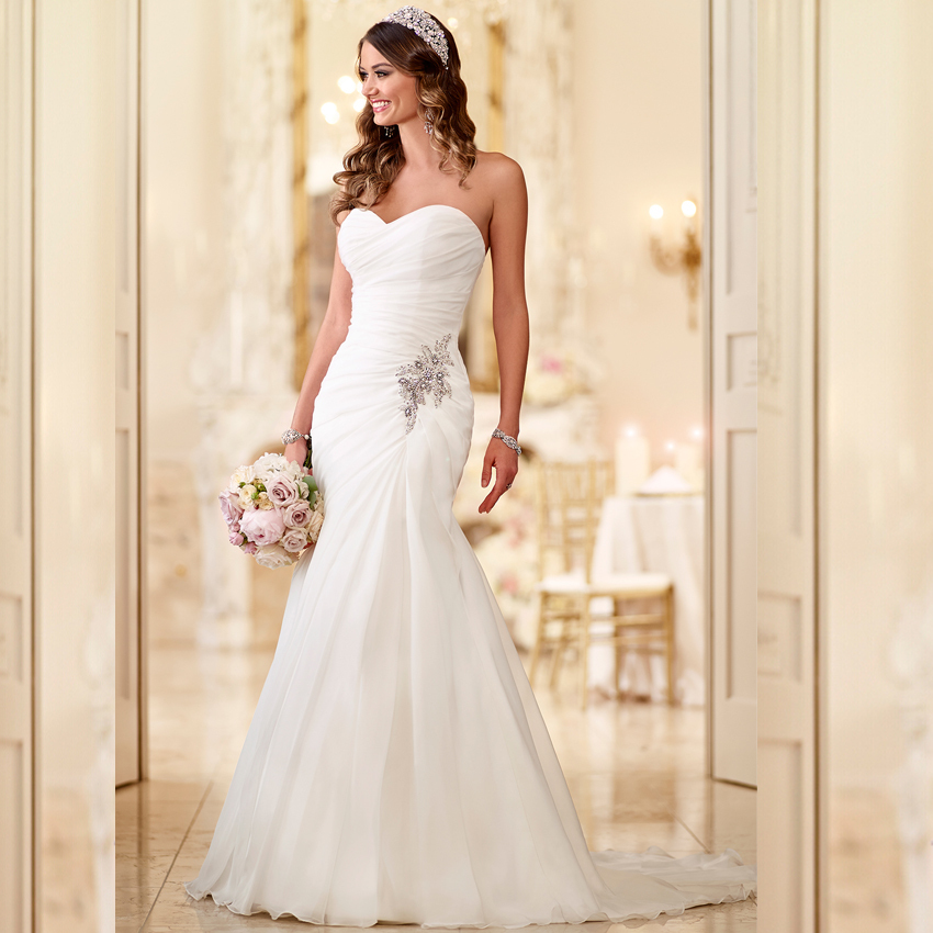Ruched Organza Strapless Wedding Gown
