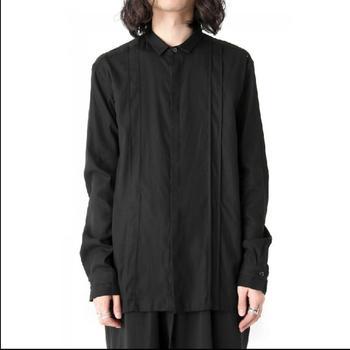 Original Design Men's Shirts Long Sleeves Pleats Stitching Single-breasted Fashion Shirts Hair Stylist Singer Nightclub Costumes