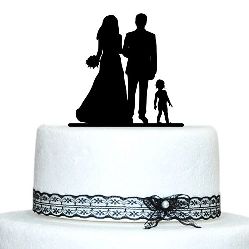 Custom wedding cake topper silhouette groom and bride with kid custom wedding cake topper silhouette groom and bride with kid acrylic cake toppers wedding decoration accessories junglespirit Image collections