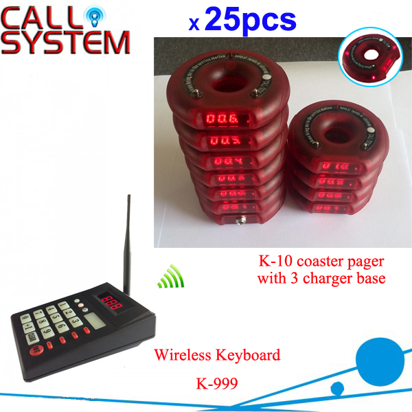1 keypad 25 guest coaster pager 3 charger waiter call customer Personal pager coaster paging system wireless service call bell system popular in restaurant ce passed 433 92mhz full equipment watch pager 1 watch 7 call button