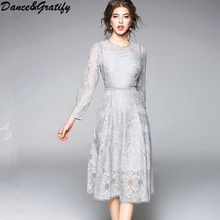 2018 New Fashion Vintage Lace Dress Women Party Dresses Hollow Out Dress Female Robe