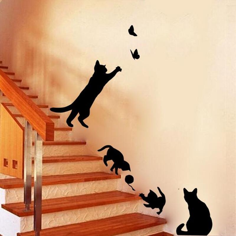 nueva butt erflies pegatinas saln escaleras gato etiqueta de la pared decoracin adhesivos para paredes