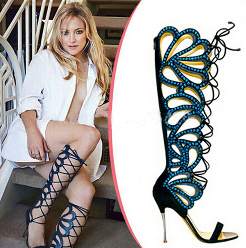 new fashion cut-outs cage style metallic heel sandals open toe knee high woman summer crystal sandal boots new arrival knee high boots cross strap cut outs gladiator sandal boots suede open toe lace up sandals summer women flat shoes