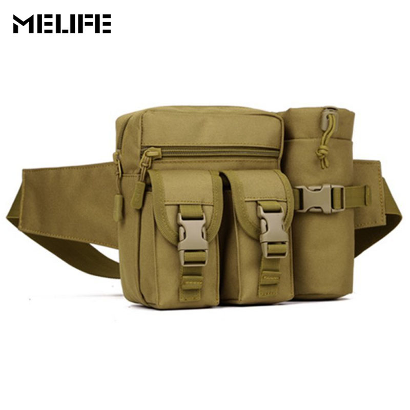 MELIFE Military Tactical <font><b>Bag</b></font> Army Molle <font><b>Outdoor</b></font> Waterproof Hiking Fishing Sport <font><b>Bags</b></font> Men Trainning Camping Belt Pack With kettle