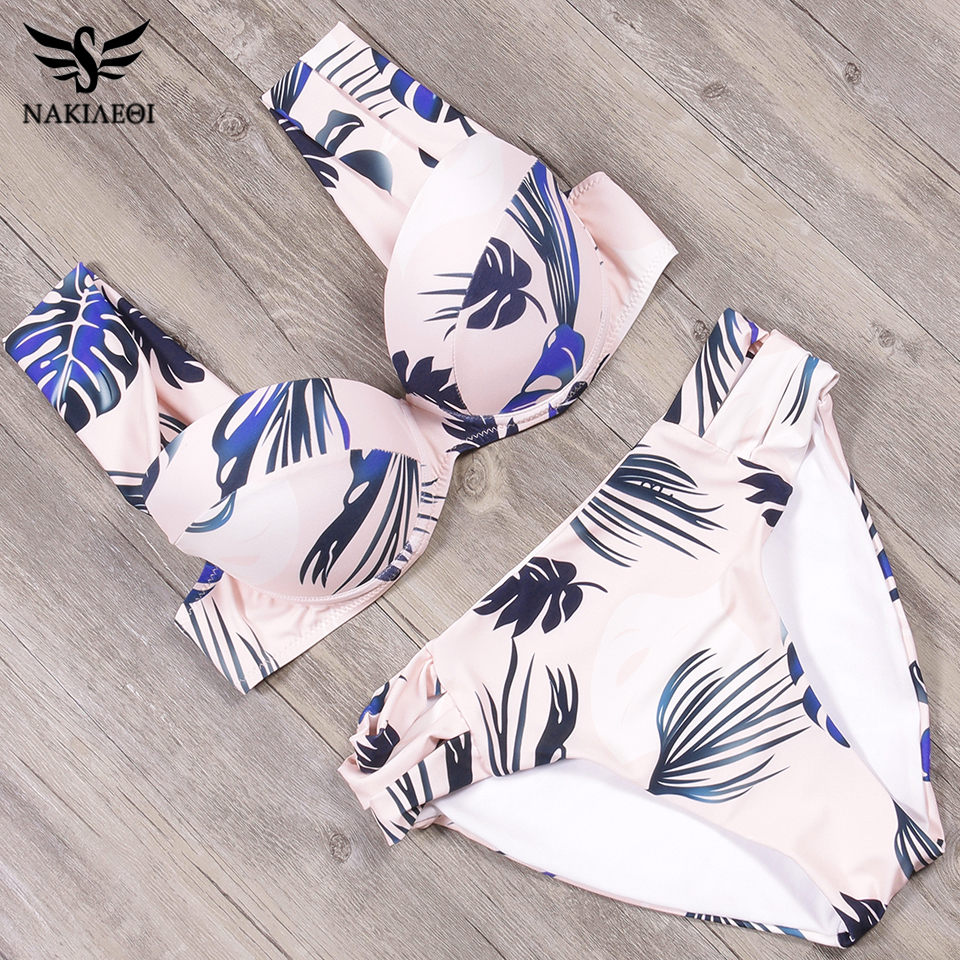 NAKIAEOI <font><b>Bikini</b></font> 2019 Newest <font><b>Sexy</b></font> Leaf <font><b>Bikinis</b></font> Set Women Swimwear Swimsuits Summer Swimwear Bathing Suit Biquinis Beachwear S~<font><b>XL</b></font> image