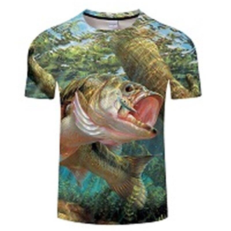 Новая футболка для рыбалки, стильная повседневная футболка с цифровым 3D принтом рыбы, мужская и женская футболка, летняя футболка с коротким рукавом и круглым вырезом, Топы И Футболки S-6XL - Цвет: TXKH436