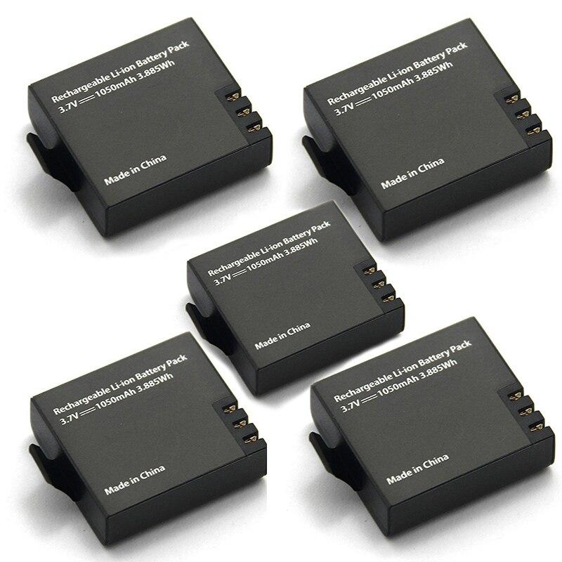 5 unids Original Eken batería 1050 mAh Eken recargable de Li-Ion batería de repuesto para Eken h9 h9r h8 h8r h3 h3r Sjcam SJ4000 SJ5000X