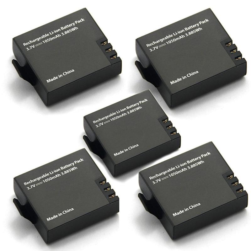 5pcs Original Eken Battery 1050mah Eken Rechargeable li-ion Spare Battery for Eken h9 h9r h8 h8r h3 h3r Sjcam SJ4000 SJ5000X
