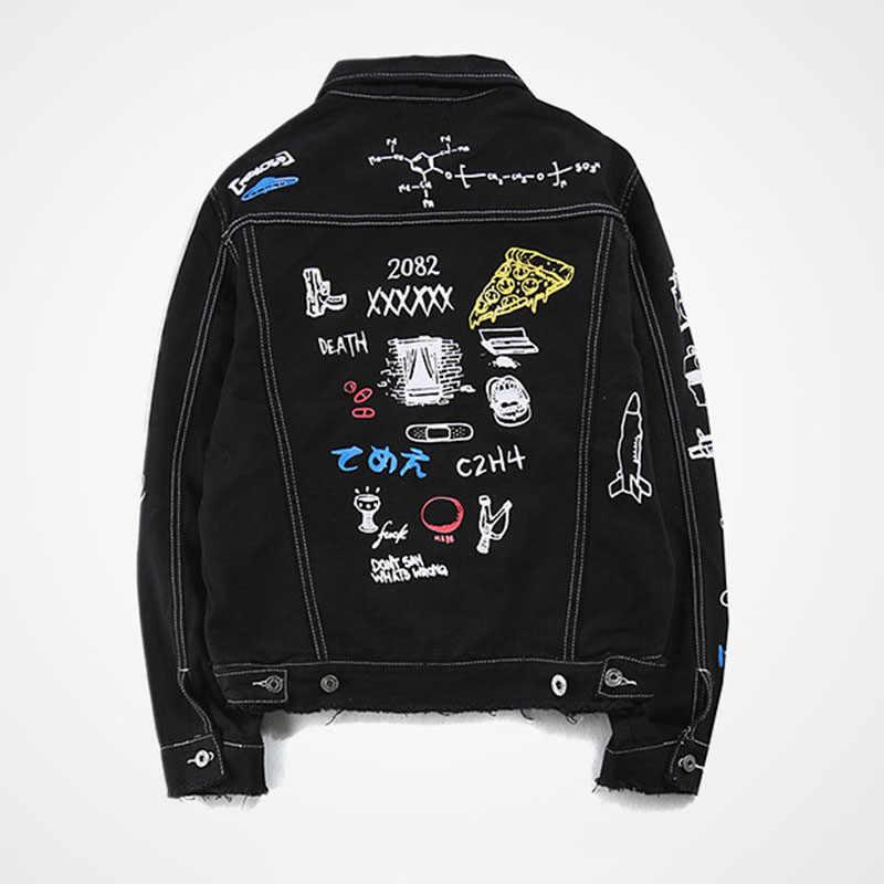Aolamegs 男性デニムジャケット男性の落書きヒップホップカウボーイファッションの男性のジャケットターンダウン襟綿生き抜く 2017 リッピング