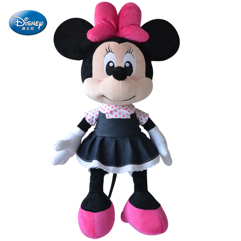 Genuine Disney Mickey Mouse Denim Minnie Mouse Dolls Children Birthday Gift Disney Princess Doll 100% genuine disney mickey mouse women quartz wrist watch with brand box packaging for 2016 birthday gift 30m feet waterproof