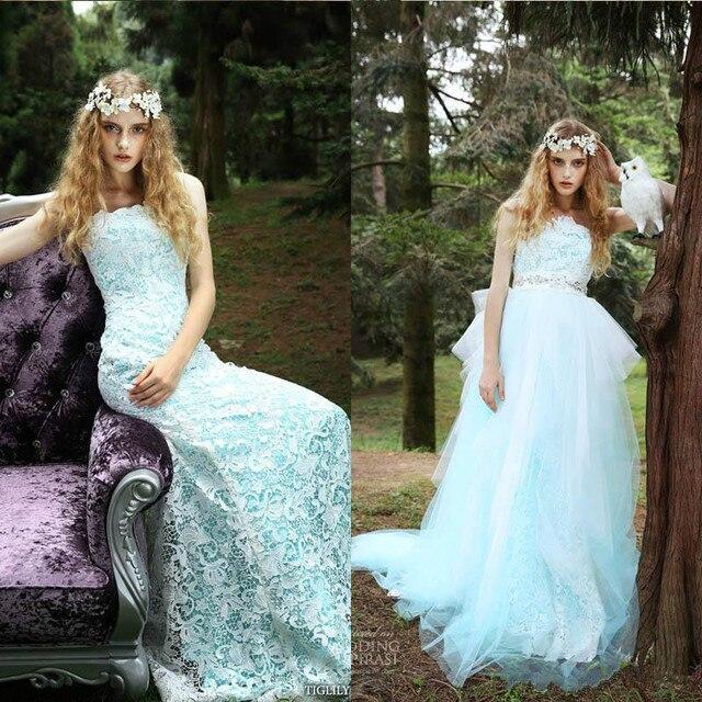 Stunning Color Wedding Dresses Lace Beach 2016 Detachable Skirt ...