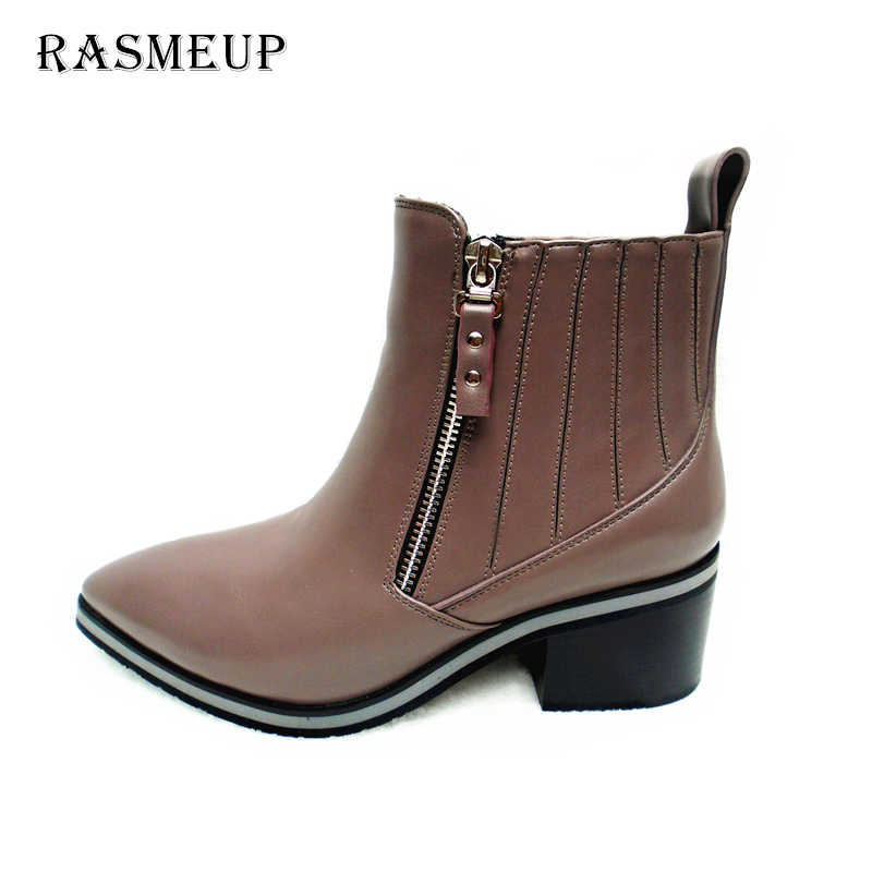 RASMEUP Fashion Women Pointed Toe Thick Heel Ankle Boots Autumn Winter Ladies Short Boots Women Leather Side Zipper Single Boots