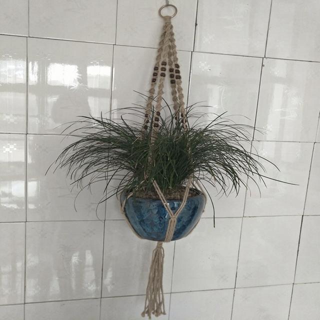 115cm Jute Rope Macrame Plant Hangering Basket Flowerpot Net Holder Gardenpot Lifting Rope Home Decor