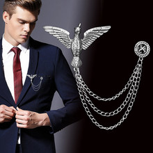 Rasa Lapar Permainan Eagle Cross Rantai Bros Gaya Inggris Pria Perapi Keren Kerah Pin Crystal Wings Eagle Pin Pesta Fashion perhiasan(China)