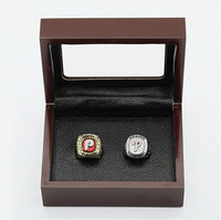 Gorgeous Ring Sets With Wooden Boxes Replica Baseball Copper 2pcs Philadelphia Phillies Men Championship Rings Necklace