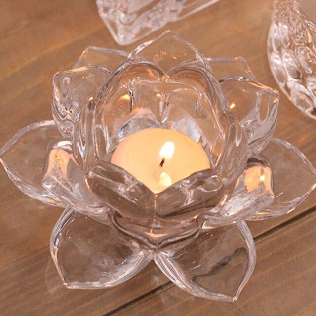 cristal fait main fleur de lotus bougeoirs 7 couleurs. Black Bedroom Furniture Sets. Home Design Ideas