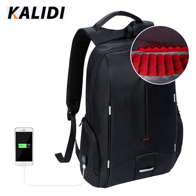 KALIDI  Waterproof Laptop Backpack USB Charger 15.6 inch School Bags Casual Backpack Men Women 15 inch Travel Bag for Teenage