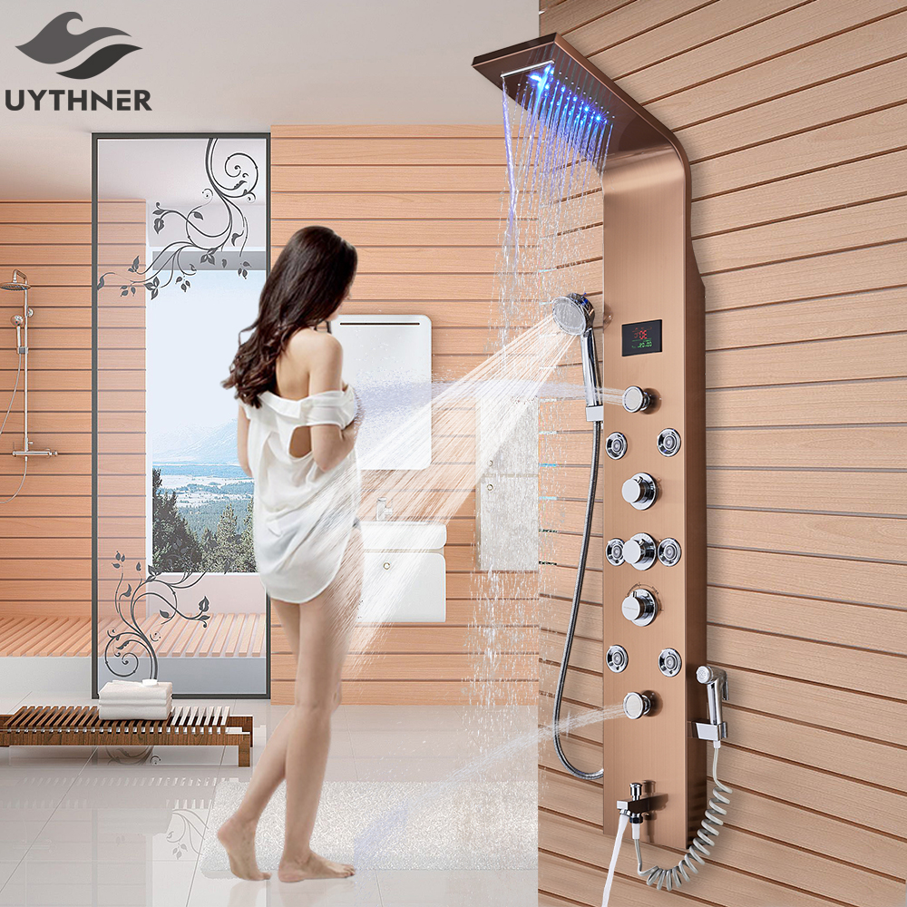 Shower Equipment Back To Search Resultshome Improvement Newly Luxury Black/brushed Bathroom Shower Faucet Led Shower Panel Column Bathtub Mixer Tap With Hand Shower Temperature Screen Chills And Pains