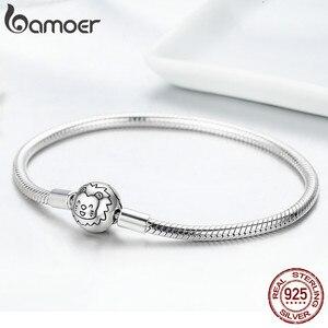 Image 5 - Bracelete de prata refinada 100% bamoer, joia com fecho redondo de leão, fio de cobra, joia feminina de prata esterlina 925 scb054