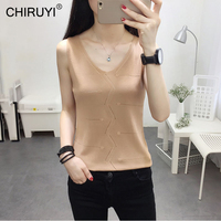CHIRUYI 2018 Summer Knitted Tank top Women Blouse V Neck Top Female t shirt Sleeveless Vest Casual Tank