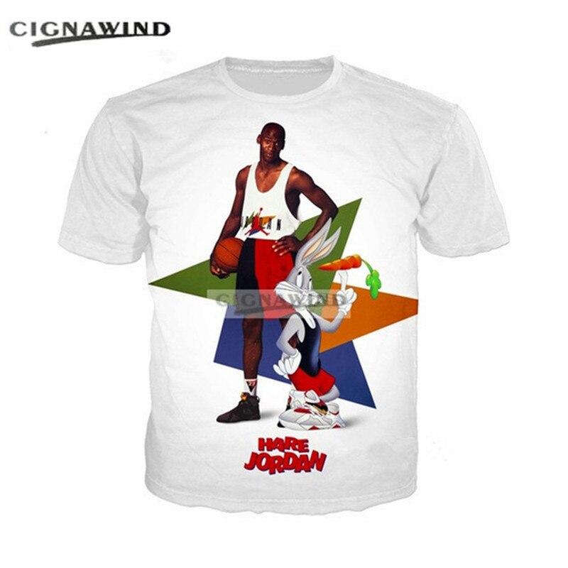 New funny t shirts men women Cartoon Bugs Bunny Jordan 3D print t ... a4386e8e2e