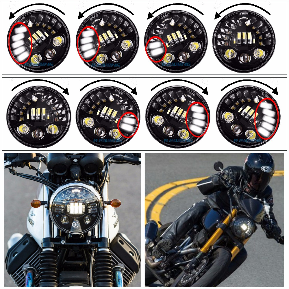 HJYUENG 80w 7Inch LED Black Round Adaptive Motorcycle Headlight with Hi/Lo Beam Projector Daymaker 7 Round Headlamp for Harley free shipping 7inch round headlight 75w h4 motorcycle round led headlamp daymaker hi low beam head light bulb drl for offroad