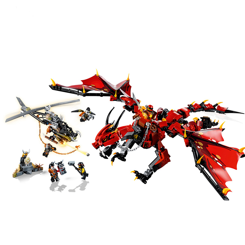 Thunderstorm dragon and Flame spys shadow dragon which Compatible with <font><b>Ninjagoes</b></font> <font><b>70652</b></font> 70653 Building Blocks Children Christmas image