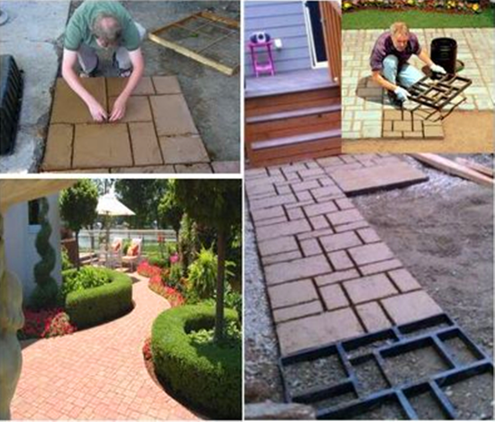 DIY Plastic Path Maker Mold Manually Cement Brick Molds Garden Walk Mould Make Driveway Paving Stepping Step Stone Square In Floor Boards From
