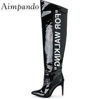 Letter Over The Knee Boots Pointy Toes 8cm Thin Heels Patent Leather Black White Autumn Winter Thigh High Boots