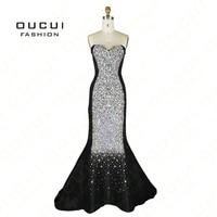 Real Photo Elastic Taffeta Fabrci Crystal Handmade Production Red Color Mermaid Design Long Evening Gowns OL102337