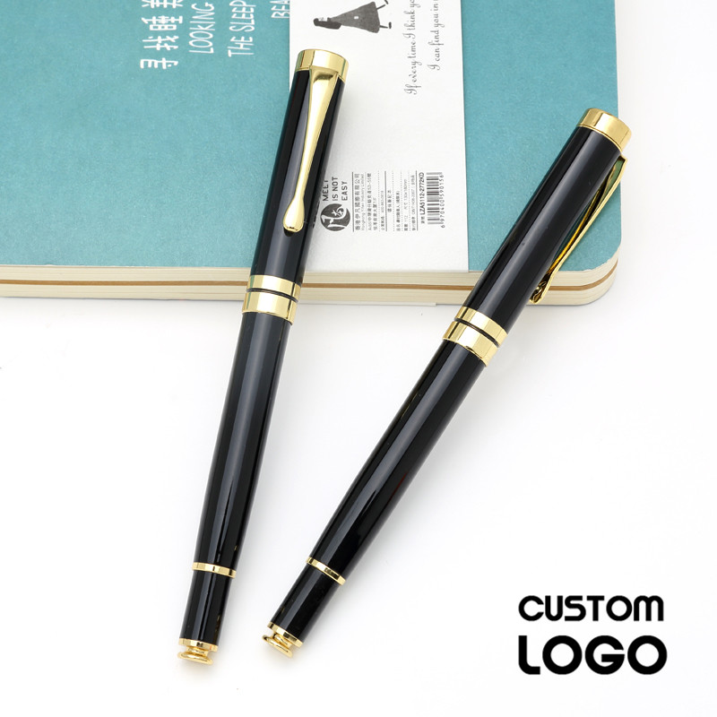 1pc 0 5mm Classic Business Office Metal Gel Pens Carbon Signature Pen Customer Gift Student Stationery Pen Custom Lettering Logo in Ballpoint Pens from Office School Supplies