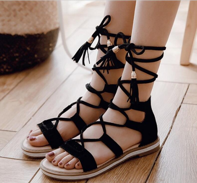 sexy ladies summer sandals women flats lace up cross-tied tassel metal decor woman casual shoes chaussure Zapatos Mujer F180051 2016 hot low top wrinkled skin cockles trainers kanye west chaussure flats lace up mens shoes zapatos mujer casual shoes