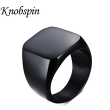 Cool Brand New Fashion Simple 316L Titanium Steel Blank Plain Men Ring Jewelry 2016 anel masculino Size 7-12 Black and Silver