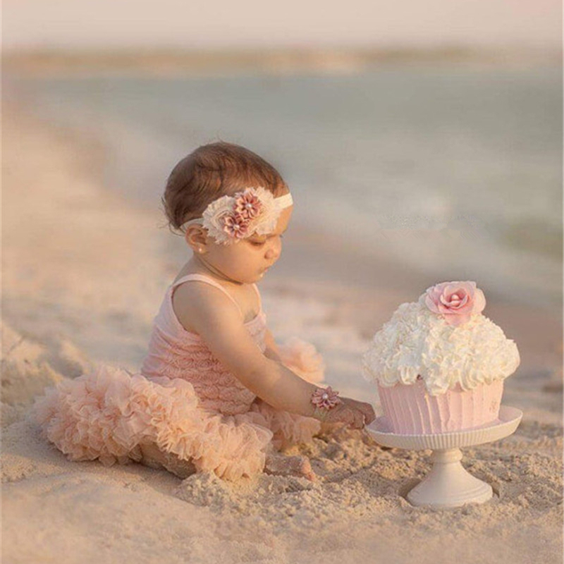 Posh Baby Girls Dress Flower Girls Wedding Champagne Rose Dress Children Birthday Cake Smash Outfit Petti Tutu Dress 5 Colors