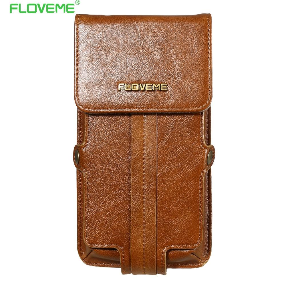 imágenes para Case para iphone 7 6 floveme 6 s plus para samsung s7 s6 5.5 pulgadas universal de la pu de cuero del teléfono monedero bolsa de bolsa de la cintura accesorios