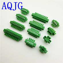 hot deal buy 50pcs 3.5mm pitch pcb pluggable terminal block connector 2/3/4/5/6/7/8/9/10/11/12p right angle kf2edgkm with flange ears green