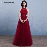 La estrella de mar robe demoiselle d'honneur pour femme2019 high neck new tulle beaded back A Line burgundy bridemaid dresses