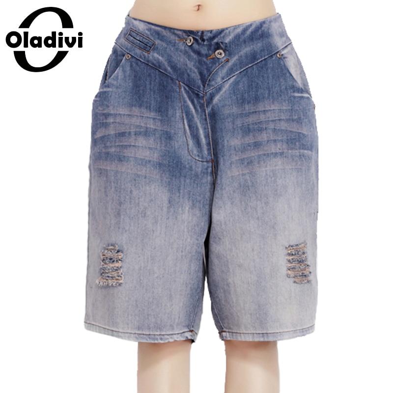 Oladivi Shorts Women 2017 Fashion Ladies Jeans Vintage Trousers Female Hole Denim Short Pants Jeans Trousers Summer Style New XL 2016 summer style fashion women s short pants lace ladies jeans denim shorts