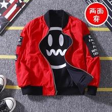 Куртка для маленьких мальчиков Корейская Весенняя версия/осень двусторонний смайлик печатных куртка для мальчиков Новый Костюмы Рождественский подарок на день рождения