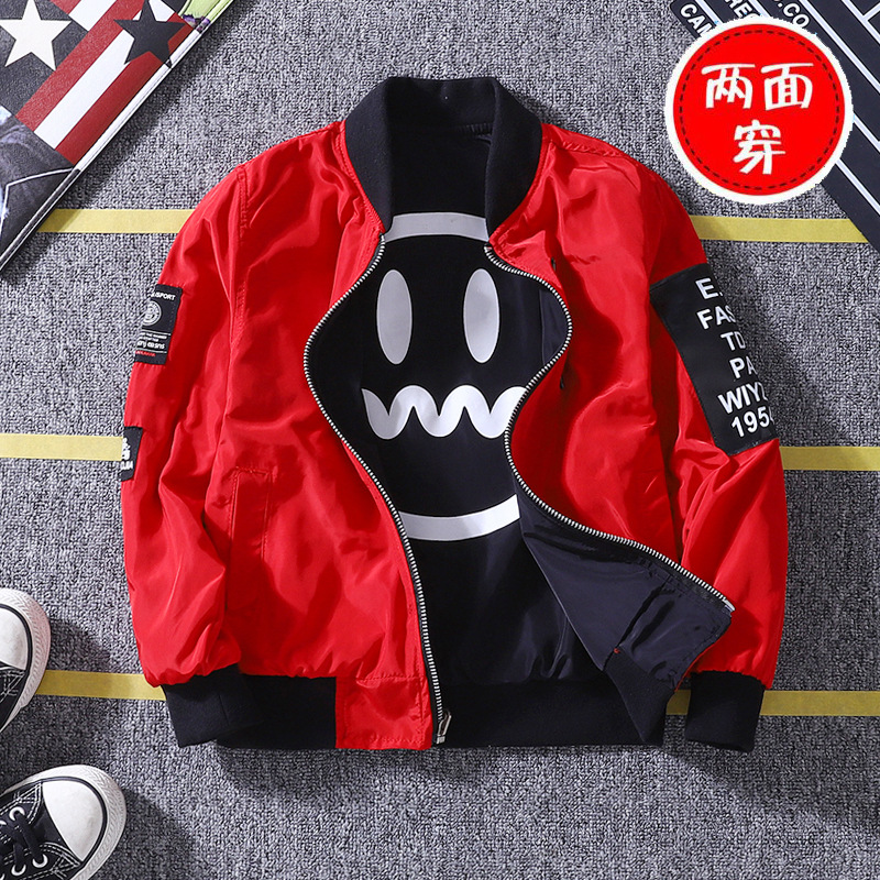 Baby Boys Jacket Korean Version Spring/Autumn Double-faced Smiley Face Printed Jacket Boys New Clothing Christmas Birthday Gift