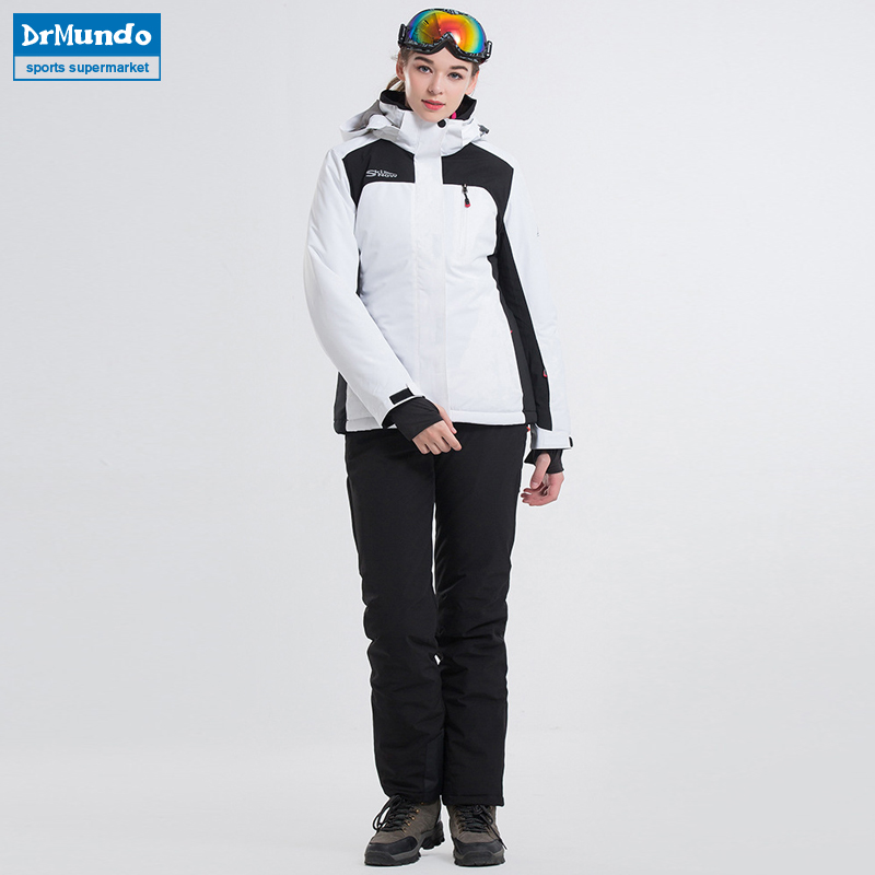 2018 New Ski Suit Waterproof Women Snowboarding Jackets+Pants Warm Thermal Snow Coat White Colorl Ski Sets Female Ski Wear Brand 2018 new lover men and women windproof waterproof thermal male snow pants sets skiing and snowboarding ski suit men jackets