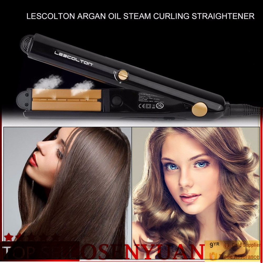 Argan Oil Vapor Steam Hair Flat Iron Portable Ceramic Hair Straightener Salon Professional Hair Styling Tools Fast Heating rucha professional electric hair straightener advanced mch hair styling tools flat iron ceramic wide plates for salon