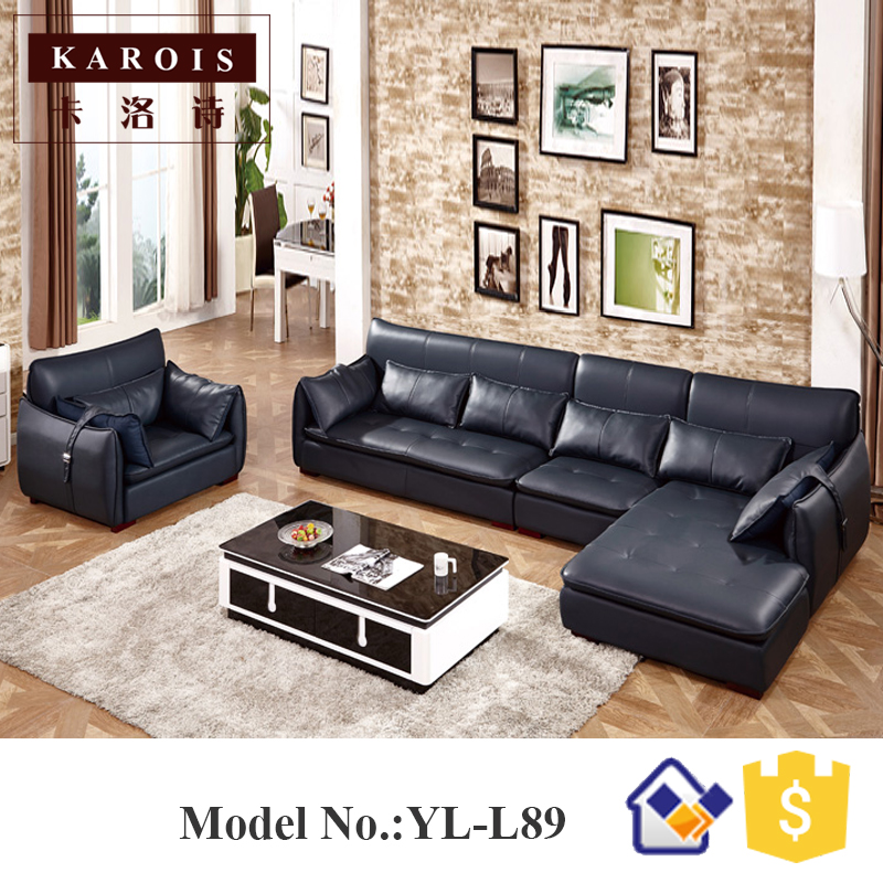 Malaysia Royal Living Room Furniture Sets Scandinavian Lorenzo Navy Blue Sofa Us739