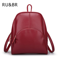RU&BR Korean Casual Backpack Women Genuine Cow Leather Bag High Quality Women Backpack Mochila Feminina School Bag For Teenagers