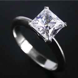 Vintage 2Carat księżniczka Cut piękny diament pierścień dla dziewczyny czyste srebro z białym złotem okładka na zawsze