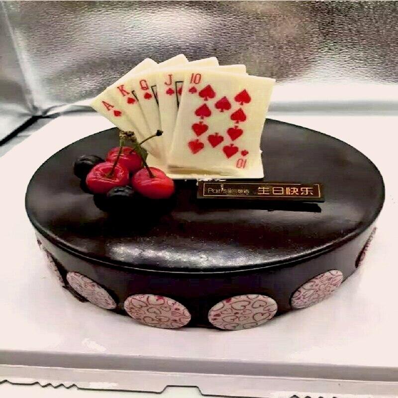 Poke Red Heart Flush Chocolate Transfer Mold for Cake ...